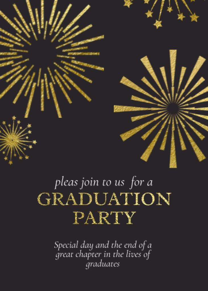 Platilla de diseño Graduation Party Announcement with Fireworks Invitation
