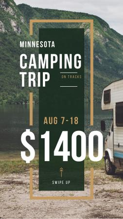 Camping Trip Invitation Travel Trailer by Lake Instagram Story Modelo de Design