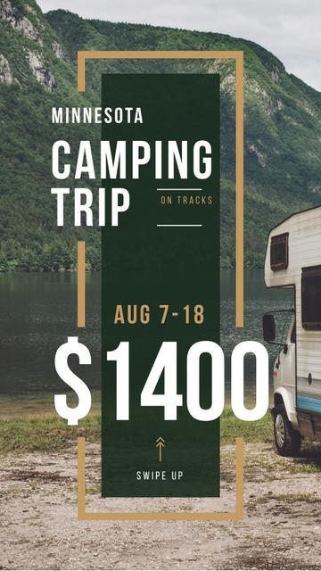 Camping Trip Invitation Travel Trailer by Lake Instagram Story Design Template
