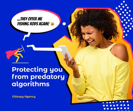 Marketing Agency Ad with Woman looking at Phone Facebook – шаблон для дизайна