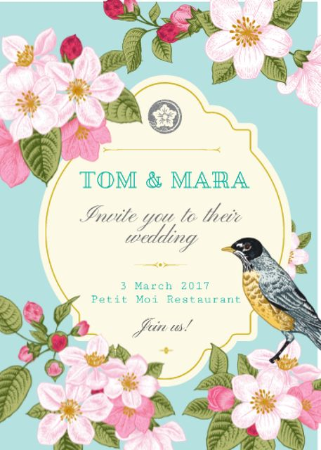 Ontwerpsjabloon van Invitation van Wedding Invitation with Flowers and Bird in Blue