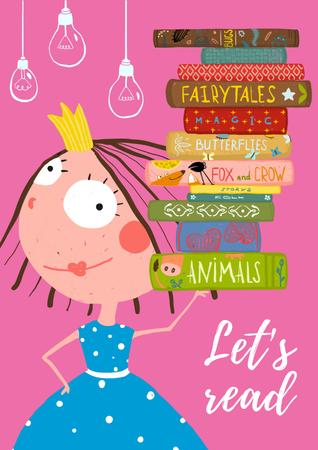 Cartoon Card with little Princess with books Posterデザインテンプレート