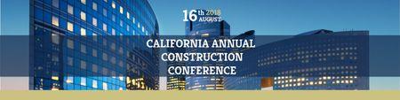 Annual construction conference announcement Twitter Modelo de Design