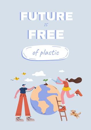Eco Concept with Green Hill illustration Poster Modelo de Design