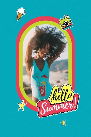 Designvorlage Summer Inspiration with Happy Girl on Beach für Pinterest