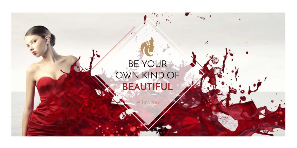 Beauty quote with Young attractive Woman Image Design Template