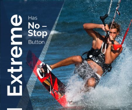 Plantilla de diseño de Extreme Inspiration Man Riding Kite Board Medium Rectangle