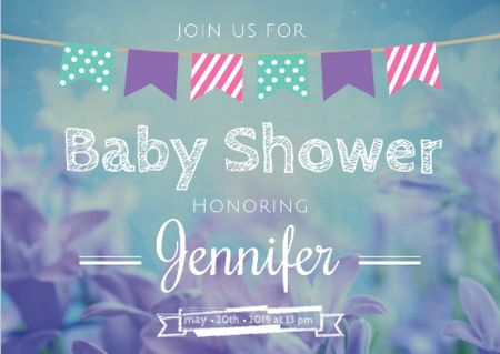 Baby Shower Invitation on Blue Flowers Postcardデザインテンプレート