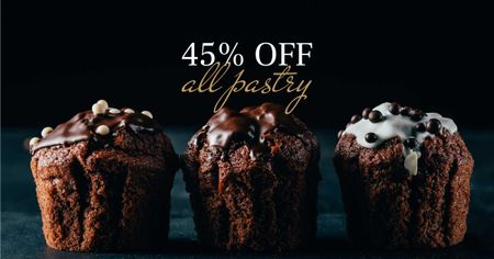 Template di design Sale offer with Sweet chocolate cakes Facebook AD