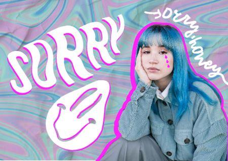 Plantilla de diseño de Apology with Cute Sad Girl Card