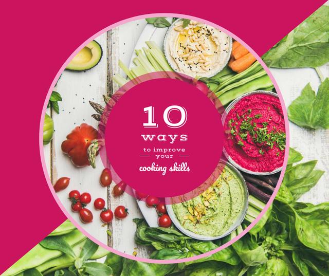 Plantilla de diseño de Dips with greens and vegetables Facebook
