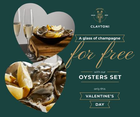 Valentine's Day Restaurant Offer with Oysters Facebook Modelo de Design
