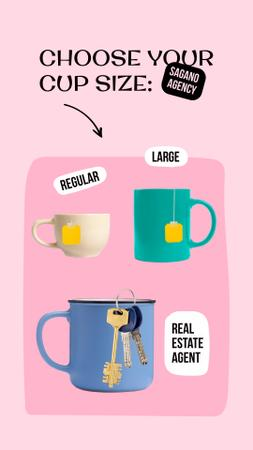 Template di design Funny Real Estate Ad with Keys in Cup Instagram Story