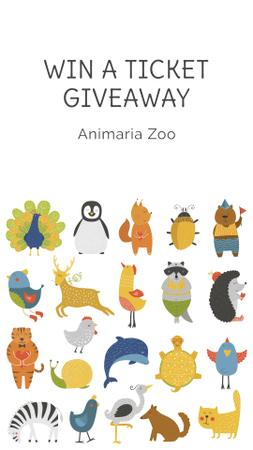 Zoo tickets giveaway with Animals Icons Instagram Storyデザインテンプレート