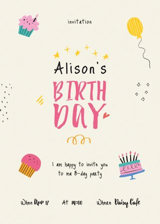 Template di design Birthday Party Announcement with Cakes and Balloons Invitation
