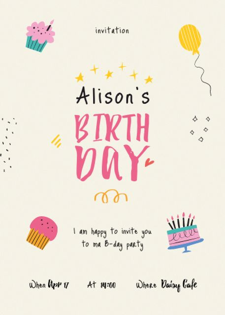 Birthday Party Announcement with Cakes and Balloons Invitation Modelo de Design