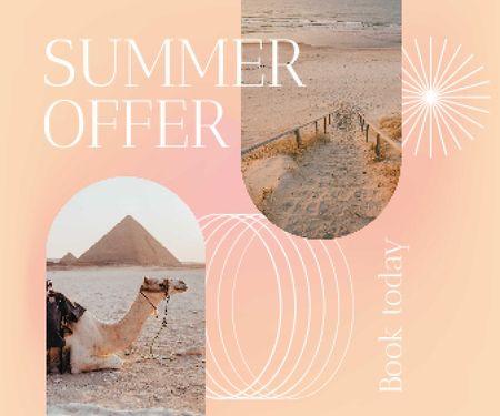 Summer Travel Offer with Camel on Beach Large Rectangle – шаблон для дизайну