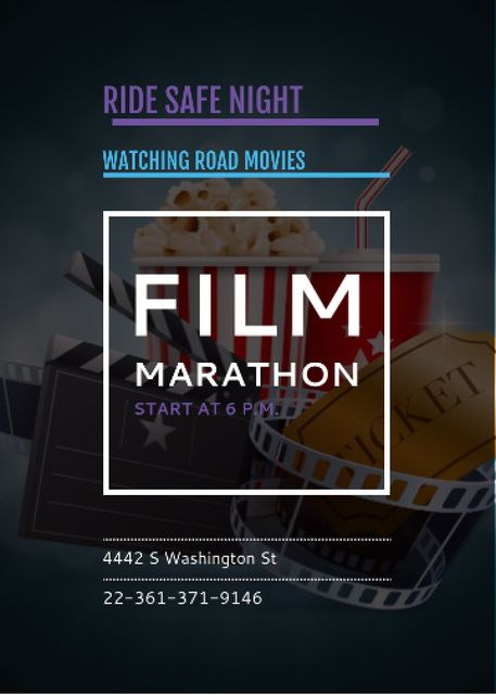 Film Marathon Night with popcorn Flayer Tasarım Şablonu
