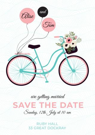 Plantilla de diseño de Save the Date Card with Bicycle and Flowers Poster