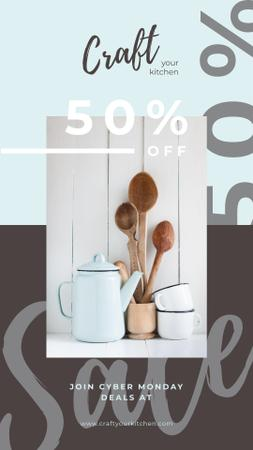 Designvorlage Cyber Monday Sale Kitchen utensils on table für Instagram Story