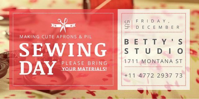 Sewing day event Announcement Twitter Modelo de Design
