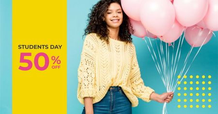 Students Day Offer with Girl holding Balloons Facebook AD Modelo de Design