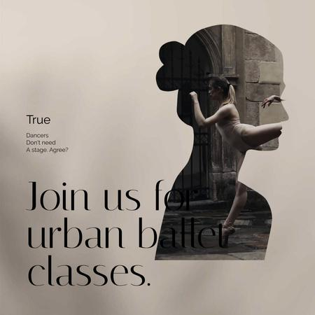 Urban Ballet Classes Offer with Ballerina's Silhouette Animated Post – шаблон для дизайну