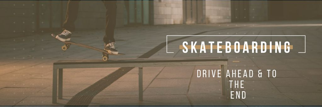 Young Man Riding Skateboard Twitterデザインテンプレート