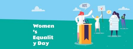 Designvorlage Women's Equality Day Announcement with Women on Riot für Facebook cover