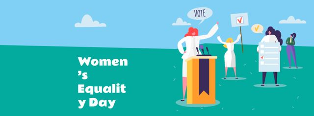 Women's Equality Day Announcement with Women on Riot Facebook coverデザインテンプレート
