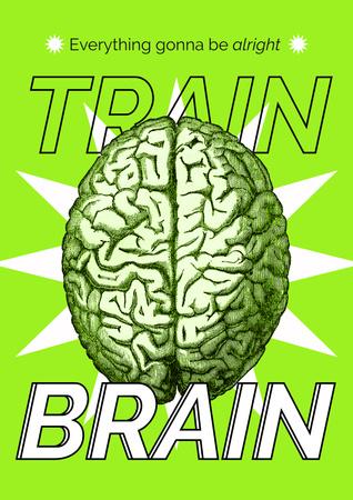 Modèle de visuel Funny Inspiration with Brain Illustration - Poster
