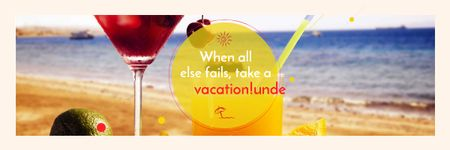 Designvorlage Vacation Offer with Cocktail at the Beach für Email header