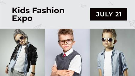 Kids Fashion Expo Event Announcement with Stylish Kids FB event cover Design Template