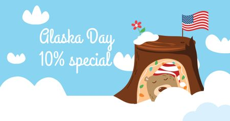 Modèle de visuel Alaska Day with Cute Bear with American Flag - Facebook AD