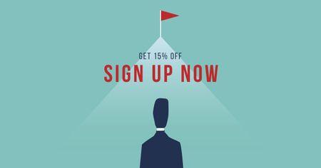 Business Offer Discount with Businessman Facebook AD – шаблон для дизайну
