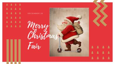 Plantilla de diseño de Christmas Fair Announcement with Cute Santa FB event cover
