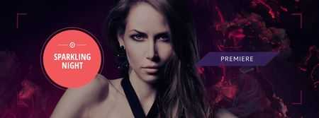 Party Announcement with Attractive Woman Facebook cover Design Template
