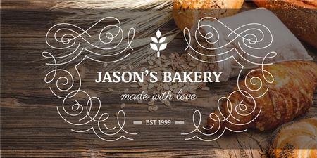 Template di design Bakery Offer with Fresh Croissants on Table Image