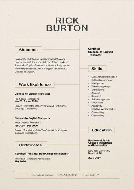 Ontwerpsjabloon van Resume van Translator skills and experience
