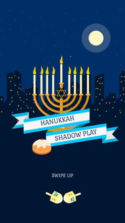 Ontwerpsjabloon van Instagram Story van Hanukkah Event Announcement with Festive Menorah