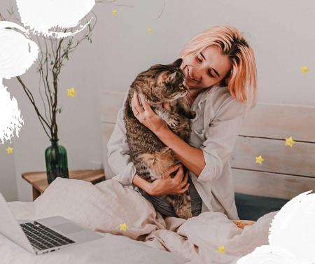 Plantilla de diseño de Girl hugging Cat at home Facebook