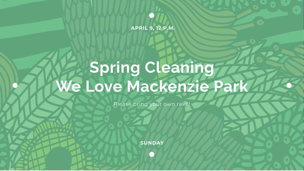 Spring Cleaning Event Invitation with Green Floral Texture — Crear un diseño