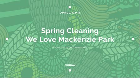 Spring Cleaning Event Invitation with Green Floral Texture Youtube Modelo de Design