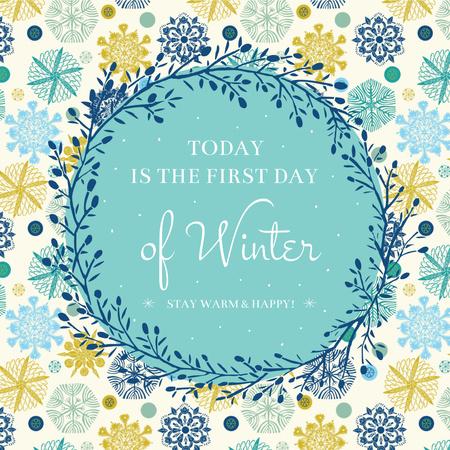 Plantilla de diseño de First Day of Winter greeting in Snowflakes Instagram AD