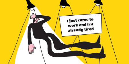 Funny illustration about Getting Tired at Work Twitter Design Template