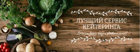 Catering Service Ad with Vegetables on Table Facebook cover – шаблон для дизайна