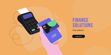 Finance Solutions concept with POS terminal Twitter Modelo de Design