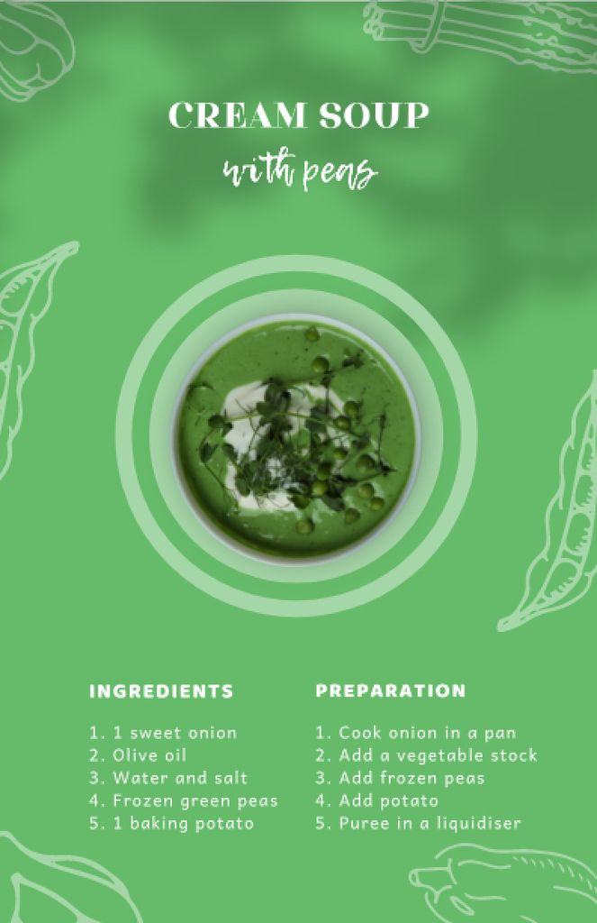 Cream Soup with Peas in Bowl Recipe Card – шаблон для дизайна