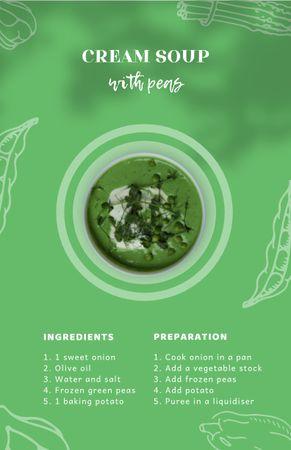 Platilla de diseño Cream Soup with Peas in Bowl Recipe Card