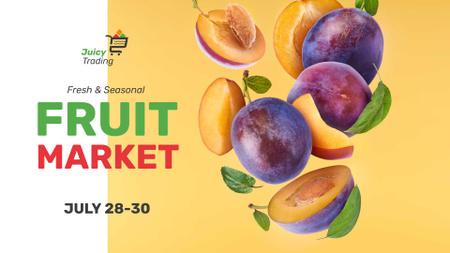 Designvorlage Fruit Market announcement fresh raw Plums für FB event cover